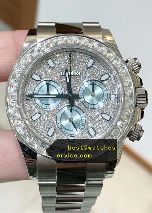 AR Ice Blue Eye Diamonds Rolex Daytona Steel