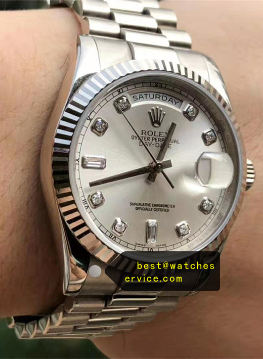 AR Rolex Day Date 118239A Silver White Gold Replica Watch