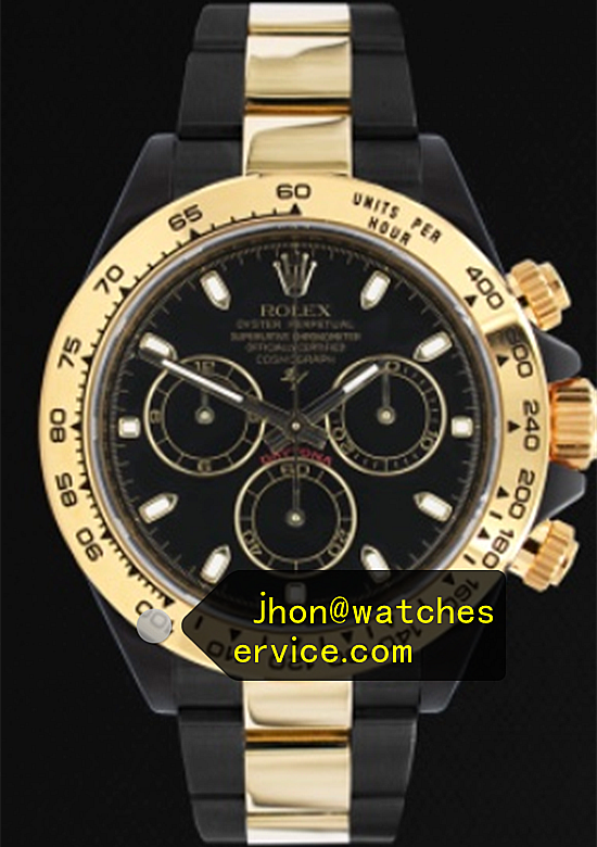 Black PVD Rolex Daytona Gold Bezel Black Steel Inlaid Gold Strap