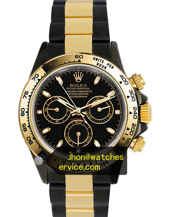 Black PVD Rolex Daytona Gold Bezel Black Steel Inlaid Gold Strap replica watch