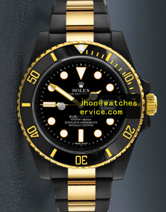 Black PVD Rolex Submariner Gold Letter