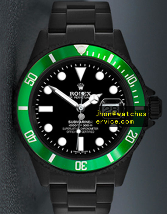 Black PVD Rolex Submariner Green Bezel Black Face
