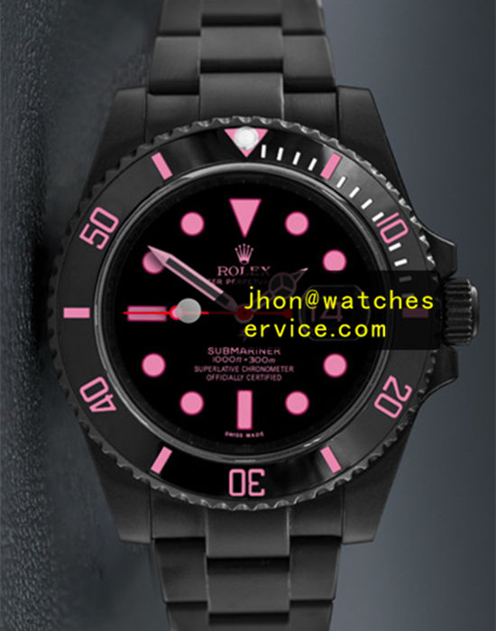 Black PVD Rolex Submariner Pink Letter