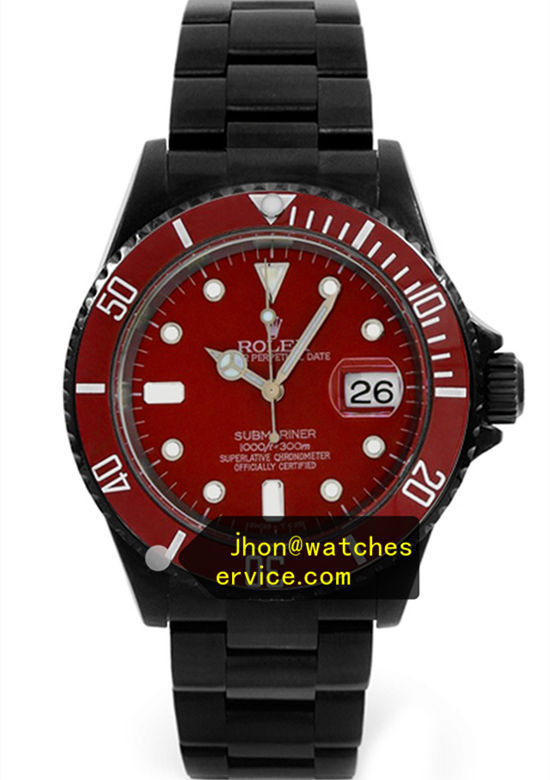 Black PVD Rolex Submariner Red Face