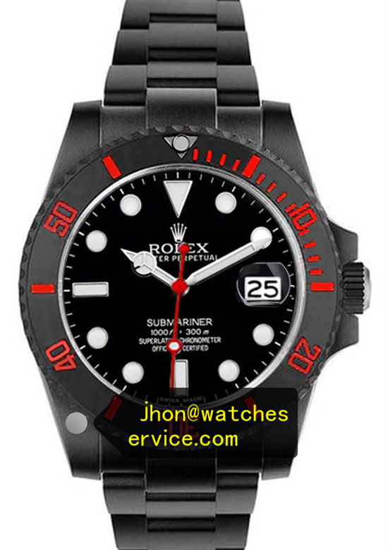 Black PVD Rolex Submariner Red Letter Rotating Bezel