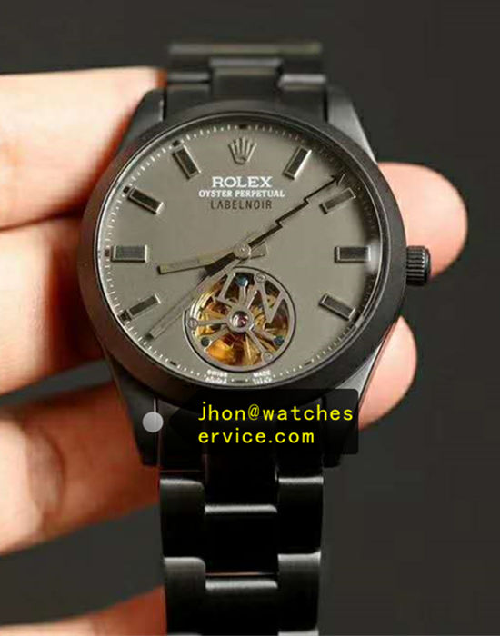 Black PVD Rolex Tourbillon Label Noir Champagne Grey