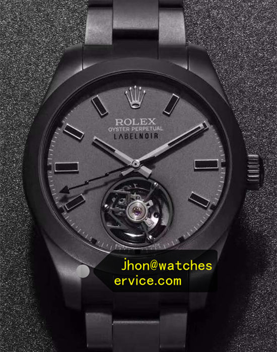 Black PVD Rolex Tourbillon Label Noir Dark Gray Dial