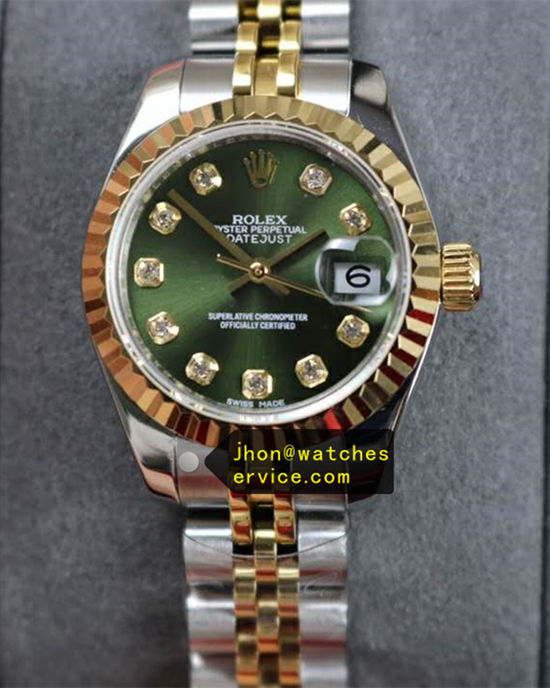 Green Lady Rolex Datejust 28MM Steel With Gold