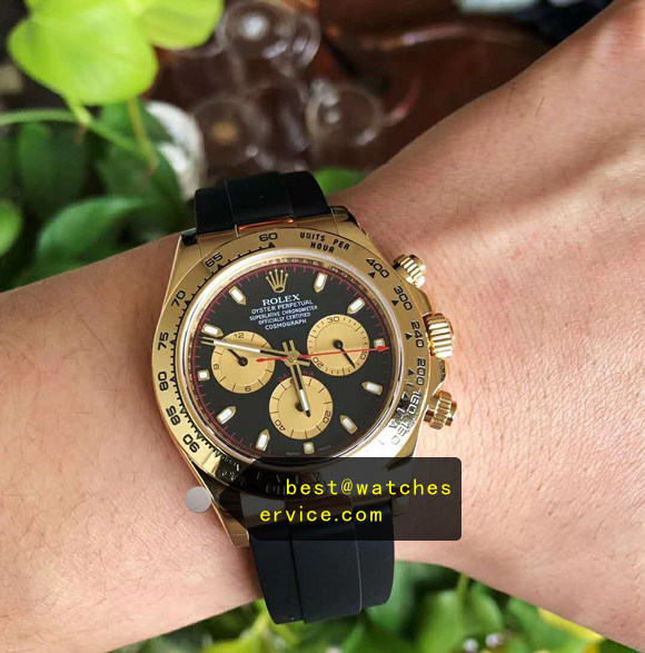 AR Gold Rolex Daytona m116518ln-0047 Rubber Strap replica watch