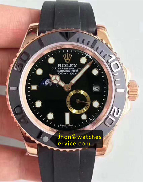 Rolex Submariner Gold Moon-Phase Rubber Strap