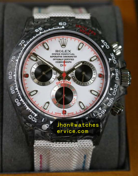 White Dial With Red Rolex Daytona Fiber